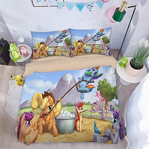 KWDDDEI® Funda De Edredón 3D Unicornio Animal Estrellado De Fantasía HD Diseño Ropa De Cama 3 Piezas 1 Microfibra Suave Funda Nórdica Y 2 Fundas De Almohada Doble 180X220 Cm (Sin Edredón)