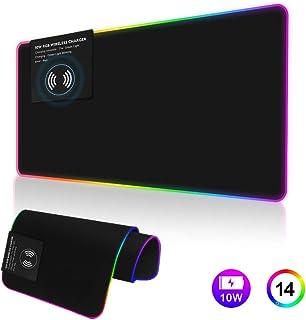 Alfombrilla de ratón para videojuegos RGB de 10 W con carga inalámbrica, 7 modos de luz, gran tamaño con luz LED extendida, gran LED RGB Gaming Mouse Pad de alta velocidad (80 x 30 cm)