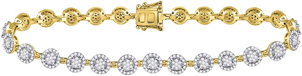 14K 2021new shipping free Yellow Gold Womens Surprise price Round Bracele Diamond Halo Cluster Tennis