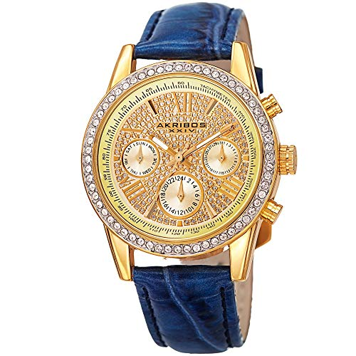 Akribos XXIV Women's Crystal Accented Watch - Two Time Zone Chronograph Pave Dial On Crocodile Embossed Genuine Leather Strap - AK871