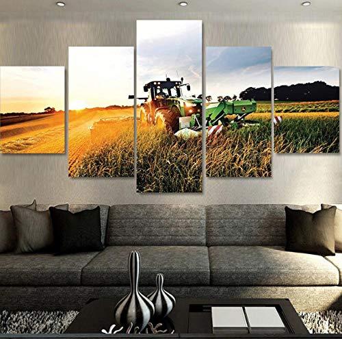 Wandkunst 5 Stücke Leinwanddruck Malerei Traktor Leinwand Malerei Dekorative Druck Poster Wandkunst Dekoration
