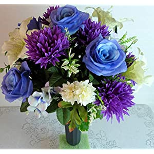 Cemetery Arrangement with Lilies, Cemetery Flowers with Blue Roses, Cemetery Vase Flowers
