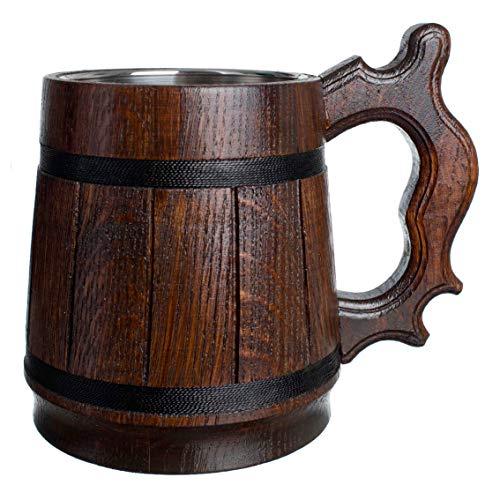Boccale di birra fatto a mano in legno di rovere con acciaio inossidabile Ecologico naturale 0,6 litri (20 once) marrone retrò