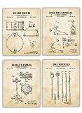 Vintage Drums Patent Wall Art Prints - Set of 4 - (8x10) UNFRAMED Design from Original Blueprint Drawing - Photo Decor Gift Great for Drummer, Son, Boyfriend, Husband, Grandfather, Music Teacher.