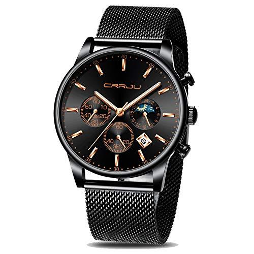 CRRJU - Reloj con cronógrafo y fecha para hombre, resistente al agua hasta 98.4pies, de cuarzo y acero, con correa de malla, Relojes de fecha elegantes para hombre, Rosa azul
