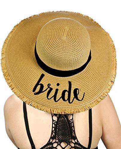 C.C Women's Paper Weaved Crushable Beach Embroidered Quote Floppy Brim Sun Hat, Bride Fringe