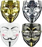 MLIAN Máscara de Hacker V para Vendetta, Juego de 4 Máscaras Anonymous de Halloween Carnaval Accesorios de Fiesta de Cosplay (E)