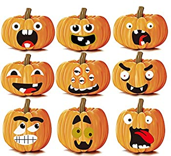 Halloween Pumpkin Stickers,Jack-o-Lantern Decorations Face Expression Stickers for Pumpkin and Squashes,Cute Halloween Pumpkin Decor Make A Pumpkin Stickers