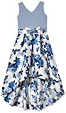 Speechless Girls' Sleeveless High-Low Taffeta Skirt Party Dress, Blue/Ivory, 12