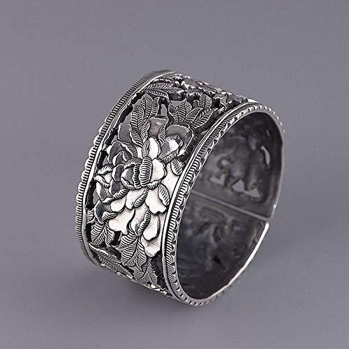 Ethnisc Zilveren armband voor dames, 925 sterling zilver, vintage, vrouwelijke modellen, etnische stijl, met handgesneden patroon, pioenroos brede versie, holle armband, origineel