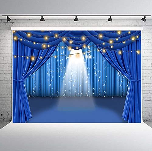 PHMOJEN 7x5ft Blue Curtain Stage Backdrop, Polyester Theater Stage Spotlight Background, Photo Studio Props PTBLYPH2