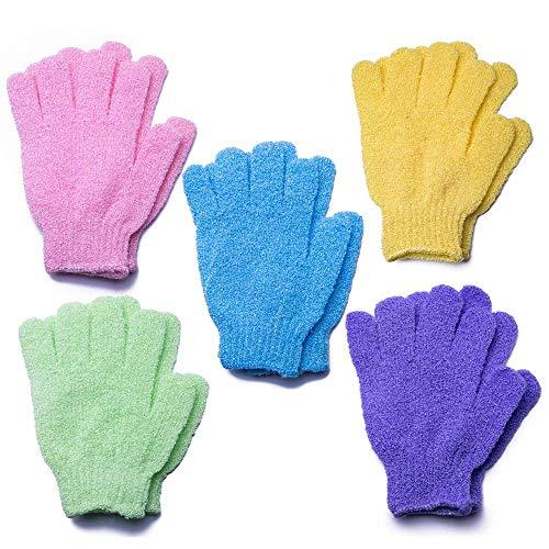 Lot de 5 paires de gants exfoliants double face pour le corps