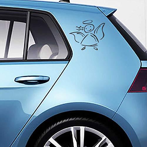 INDIGOS UG Aufkleber - Autoaufkleber-Set Schutzengel, 2 STK. je 10cm x 12cm schwarz - Tuning Carystyling Heckscheibe Auto