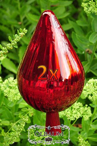 33 cm XXL Gartenkugel Massivglas ROBUST, in 33-35cm Höhe Zapfenform rot Sonnenfänger für Lichteffekte im Garten, Rosenkugel Gartenkugeln, Gartendeko FROSTSICHER, lichtbeständig und WINTERFEST, Rosenk