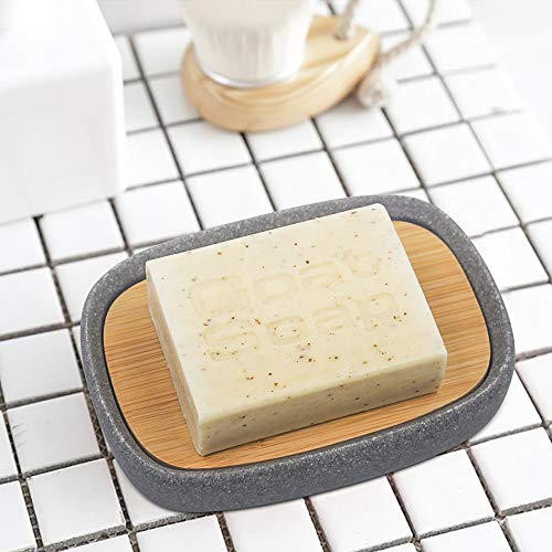 Summer-Spider Bamboo Lid oval Soap Dish, Resin Soap Holder, Self Draining Soap Saver, Soap Dish Tray for Bathroom, Sandstone Appearance (Grey)