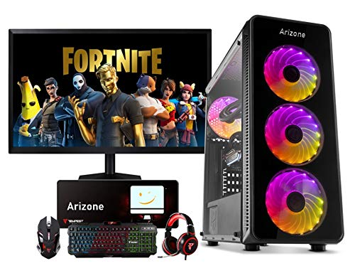 Arizone PC SOBREMESA Gaming AMD RYZEN 5 5600X up to 4,6Ghz x 6 | 16GB DDR4 | SSD 480GB +1TB HDD | GRÁFICA RX 580 8GB + Monitor LED Full HD 22' + Kit Gaming Regalo