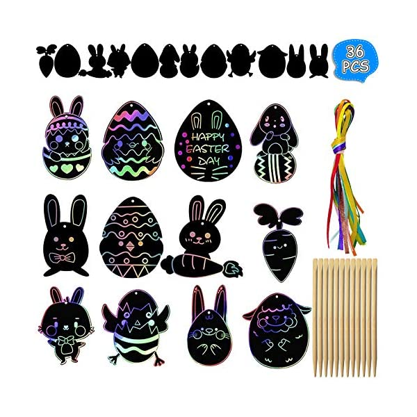 Rawskro Easter Crafts Kit for Kids,36 PCS Scratch Paper Art Set for Easter Ornaments,Magic...