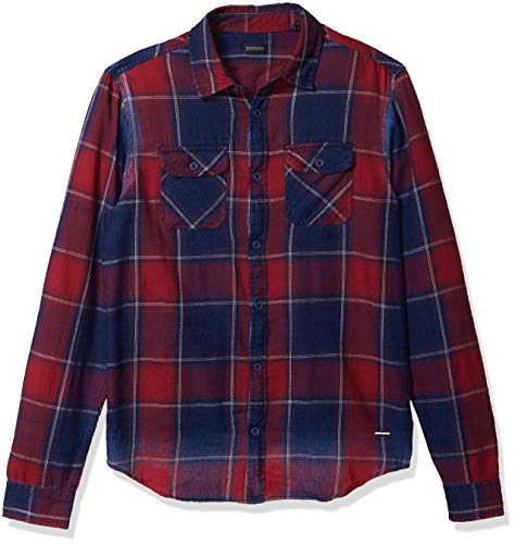 Buffalo David Bitton Herren Long Sleeve Button down denimex Shirt Hemd, Fahrrad-Rot, Mittel