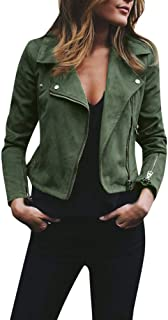 JESPER Womens Retro Rivet Zipper Up Bomber Jacket Casual Coat Faux Leather Outwear