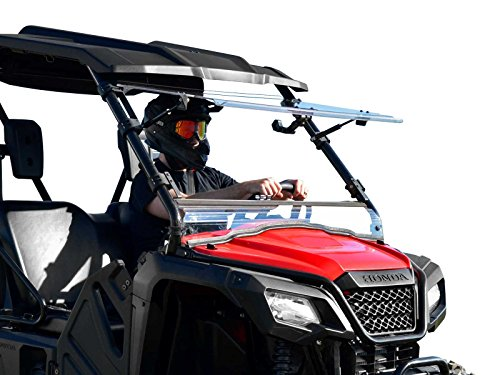 SuperATV Heavy Duty Scratch Resistant Flip Windshield for Honda Pioneer 500 (2015+) - Has 3 Different Settings!