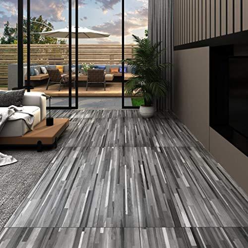 Tidyard PVC Laminat Dielen Vinyl Bodenbelag zum Küche, Bad, Flur und Wohnzimmer, 5,26 m² 2 mm, Gestreift Grau