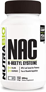NutraBio N-Acetyl Cysteine Supplement (NAC) – 150 Capsules, 600mg Each
