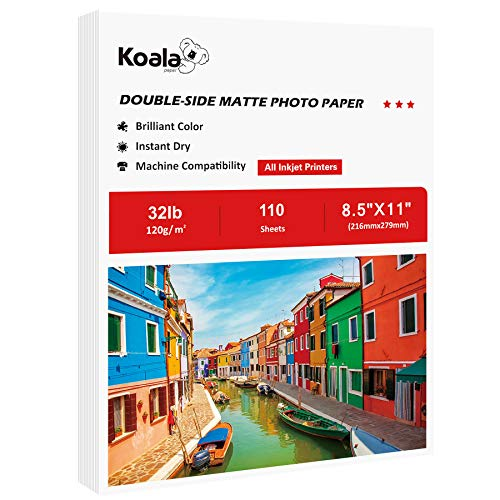 Koala Thin Presentation Paper Double-Sided Matte for Printing Photo 8.5X11 Inches 110 Sheets, Compatible with Inkjet Printer