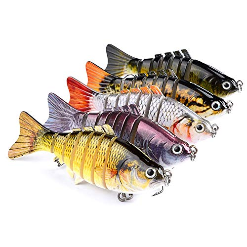 Goodjobb Iscas de pesca Equipamento de pesca, isca de pesca Luya de 7 segmentos com várias seções, olhos 3D, isca de natação artificial com várias articulações e ganchos duráveis