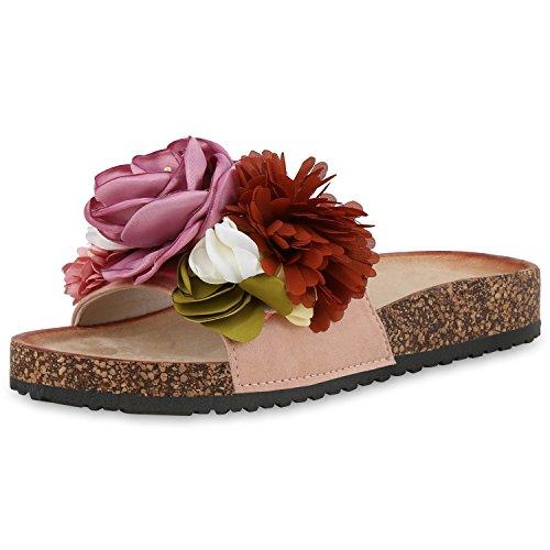 SCARPE VITA Damen Sandalen Pantoletten Blumen Sommer Schuhe Schlappen Flats 168248 Rosa 36