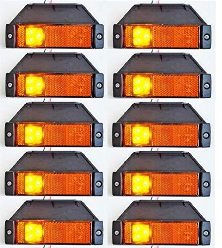Lot de 10 feux de gabarit latéraux à 3 LED 12 V 24 V orange ambré avec supports en caoutchouc pour camion, caravane, remorque