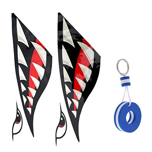 MagiDeal Pegatina Decorativa para Kayak Piragua Calcomanía Vinilo Adhesivo de Patrón Boca de Tiburón + Llavero Flotante - Llavero de Forma Tabla de Surf 75 x 50 mm