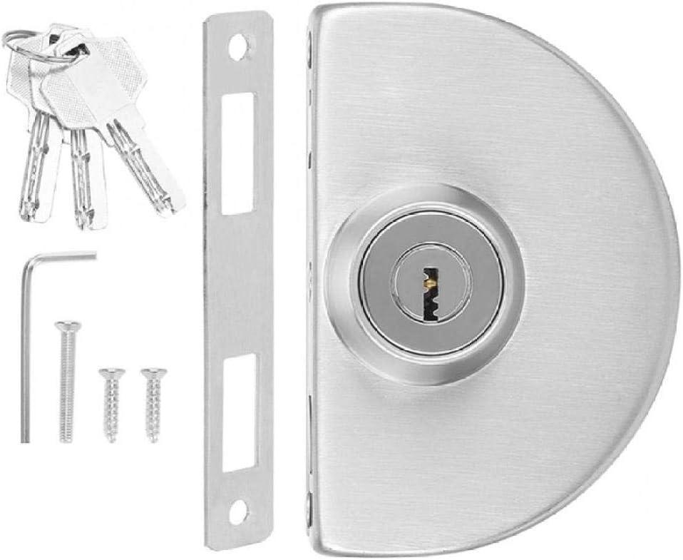 GHKUFH Stainless Steel Single Glass Door Lock with Keys Semicirc