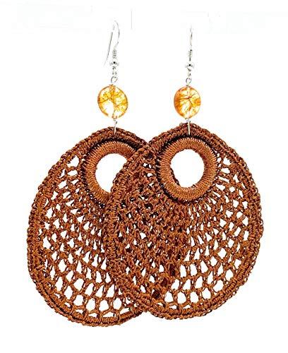 Pendientes de plata 925 crochet dorado y citrina amarilla, pendientes colgantes largos, joyas artesanales, estilo moderno, regalo para mujer