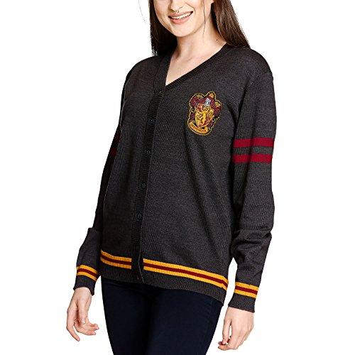 Harry Potter Cardigan Strickjacke Gryffindor Wappen von Elbenwald grau - XL