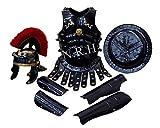 Réplica náutica casco medieval de centurión romano rojo, chaqueta de armadura de pluma, protector y escudo espartano, disfraz de Halloween