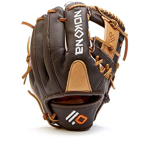 NOKONA S-100 Handcrafted Alpha Baseball and Softball Glove - Right Hand Throw, I-Web for Infield and Outfield Positions, Youth Age 10 and Under 10.5 Inch Mitt, Made in The USA