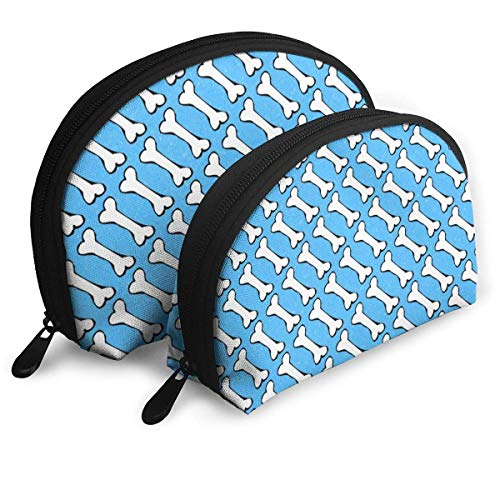 Neceser cosmético con forma de hueso sobre azul, práctica bolsa de maquillaje, para mujeres y niñas