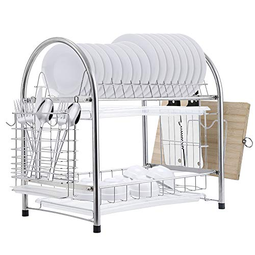 E-Gtong 2 Tier Dish Drying Rack, SUS 304 Stainless Steel Dish Rack, Rustless...