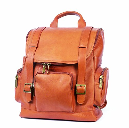 Claire Chase Portofino Computer Leather Backpack, Laptop Bag in Saddle