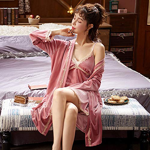 SDCVRE Pijama camisón de Invierno,Invierno Nuevo Pijama de Terciopelo Dorado de Dos Piezas para Mujer, camisón de Encaje Sexi a Rayas, camisón, Conjuntos de Bata de Terciopelo, 50Rosa, XXL