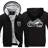 メンズパーカージャケットSweater-モンスターエナジーは、冬のステッチを印刷ジップ暖かいフード付きロングスリーブシャツ - ティーンクリスマスギフト G-XX-Large