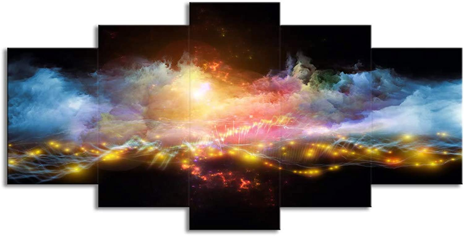 ChuangYing 5 Pieces of StarStudded, Smoke Cloud Abstract Painting Wall Sticker Family Hall Art Decorative Wall Sticker