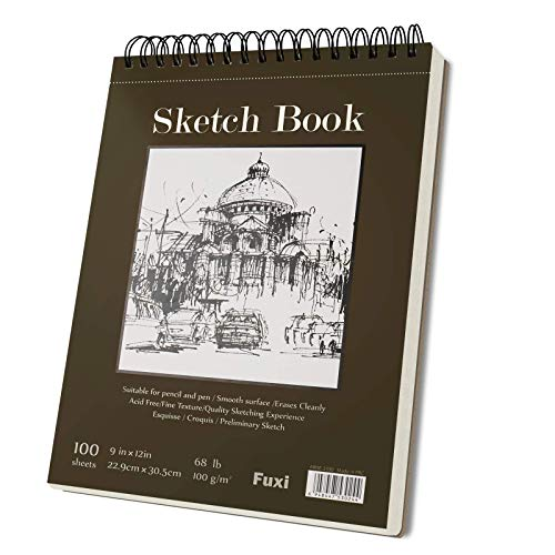 9 x 12 inches Sketch Book, Top Spiral Bound Sketch Pad, 1 Pack 100-Sheets (68lb/100gsm), Acid Free Art Sketchbook Artistic Drawing Painting Writing Paper for Kids Adults Beginners Artists