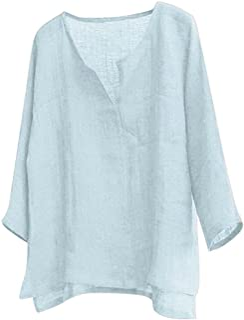Plus Size Cotton Linen Shirts for Men Casual Long Sleeve T Shirts Loose Fit Comfy V-Neck Yoga Tops Blouse Vintage