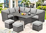 U-MAX 7 Pieces Patio Furniture Set Outdoor Sectional Sofa Conversation Set All Weather Wicker Rattan Couch Dining Table & Chair with Ottoman, Gray