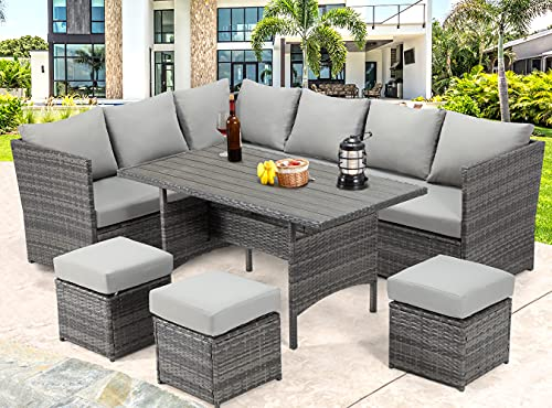 U-MAX 7 Pieces Patio Furniture Set Outdoor Sectional Sofa Conversation Set All Weather Wicker Rattan...