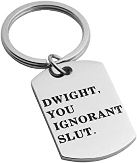 JINGMARUO The Office TV Show Quote Stainless Steel Keychain Funny Gift for Dwight Schrute Fans