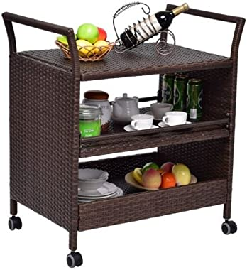 Pongwit Rattan Rolling Serving Cart Rack Storage Shelf Swivel Wheels Handle Bar Party