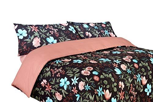 Funda nórdica Estampada Floral Negra y Rosa Algodón 100% (Helga - para Cama de 180x190/200, Nórdico de 260-270)