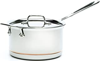 All-Clad 6204 SS Copper Core 5-Ply Bonded Dishwasher Safe Saucepan with Lid/Cookware,  4-Quart, Silver
